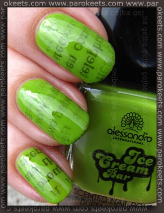 Alessandro Ice Cream Bar LE - Lime-Vanilla + newspaper nail art