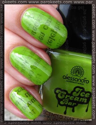 Alessandro Ice Cream Bar LE - Lime-Vanilla + newspaper nail art