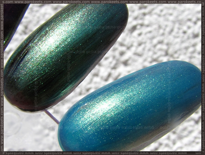Max Factor - Dazzling Blue layered over black, green