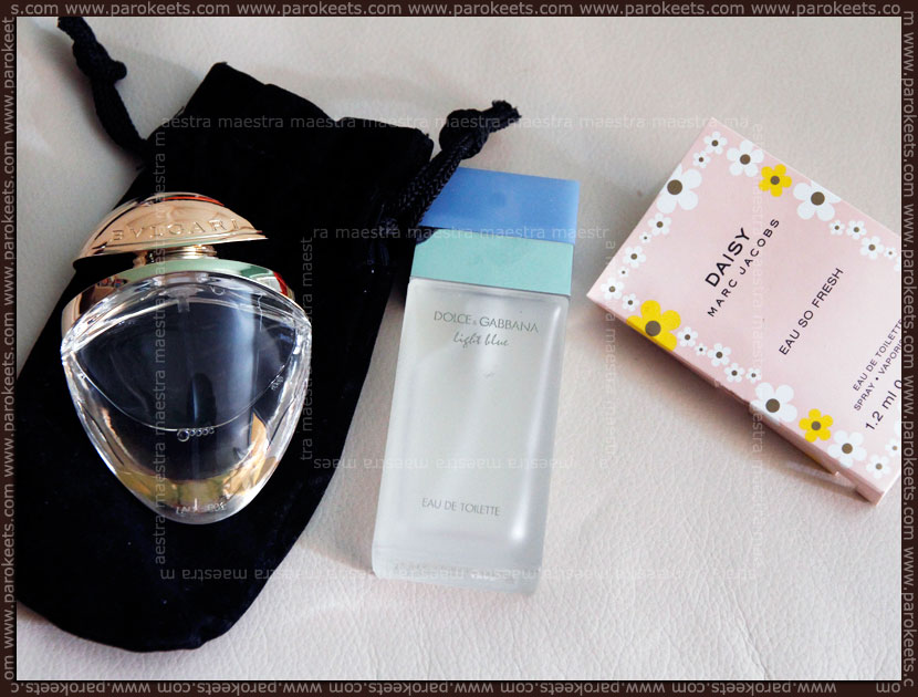 Bvlgari - Mon Jasmin Noir, D&G - Light Blue, Marc Jacobs - Daisy Eau So Fresh (tester)