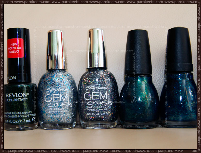 Nail polish haul: Revlon - Rain Forest, Sally Hansen Gem Crush - Showgirl Chic, Sinful Colors - Kissy, Spoiled - Deeper Dive