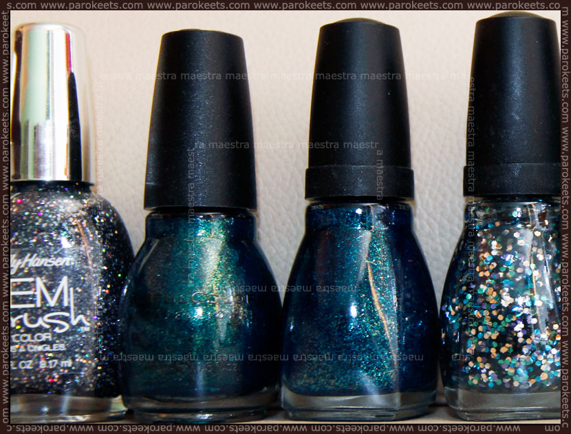 Sally Hansen Gem Crush - Glitz Gal, Sinful Colors - Kissy, Spoiled - Deeper Dive, Spoiled - Pet My Peacock