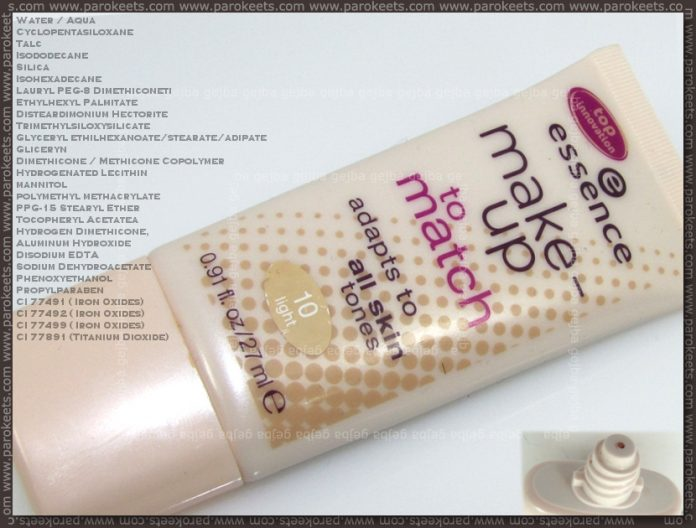 Essence Make Up To Match: packaging, ingredients