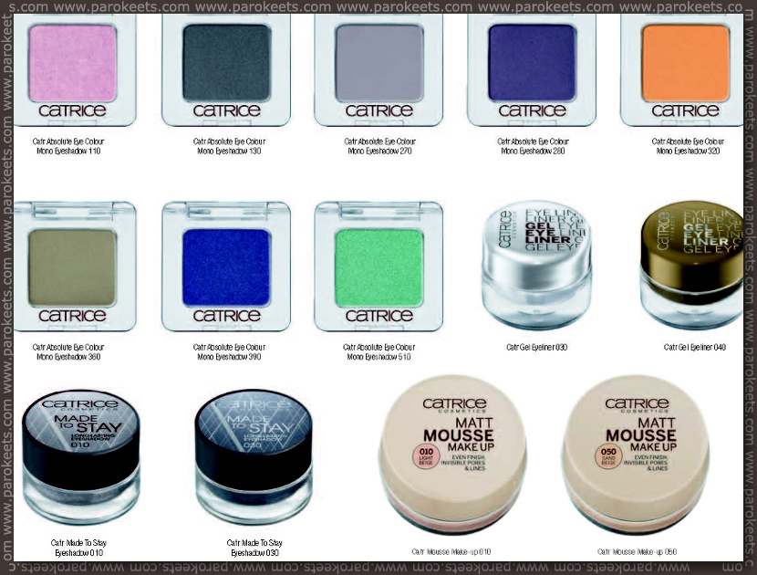 Catrice fall 2012 going away products - mono eyeshadows, mousse foundation