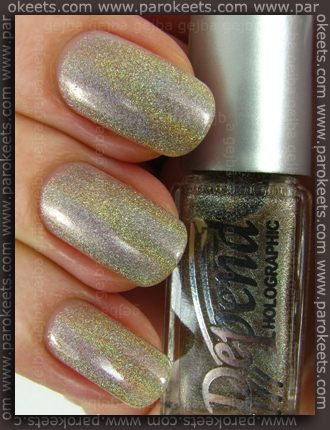 Depend Sand Grey (2026) holographic nail polish - lightbox