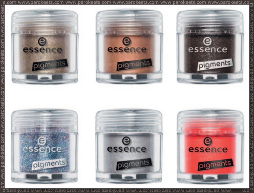 Essence Colour Arts pigments: 01, 02, 03, 04, 05, 06