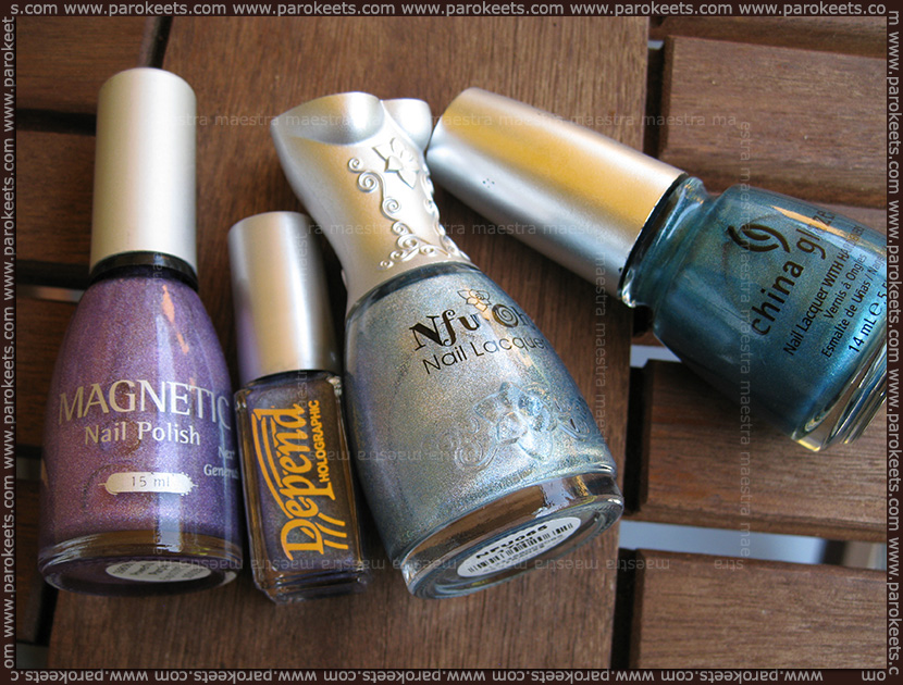 Holographic comparison: Magnetic - Powerful Purple, Nfu Oh - 65, China Glaze - DV8, Depend - Denim Blue (2032)
