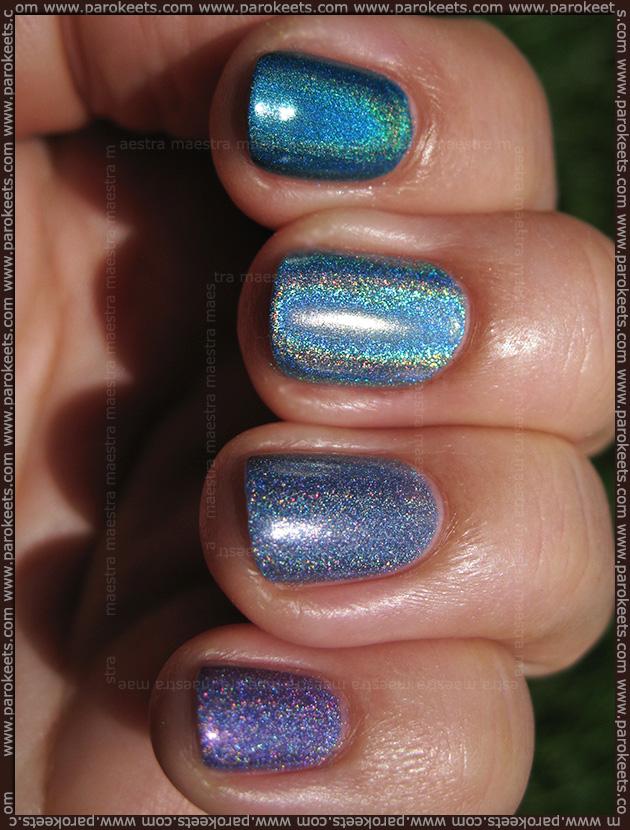 Holographic comparison: Magnetic - Powerful Purple, Nfu Oh - 65, China Glaze - DV8, Depend - Denim Blue (2032)