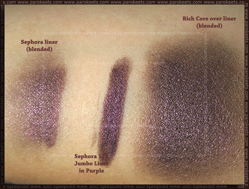 Swatch: MAC Extra DImension Shadows in Rich Core, Sephora 12h Jumbo Liner in Purple