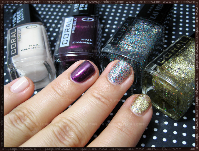 Swatch: Eveline Coral Prosilk nail polishes