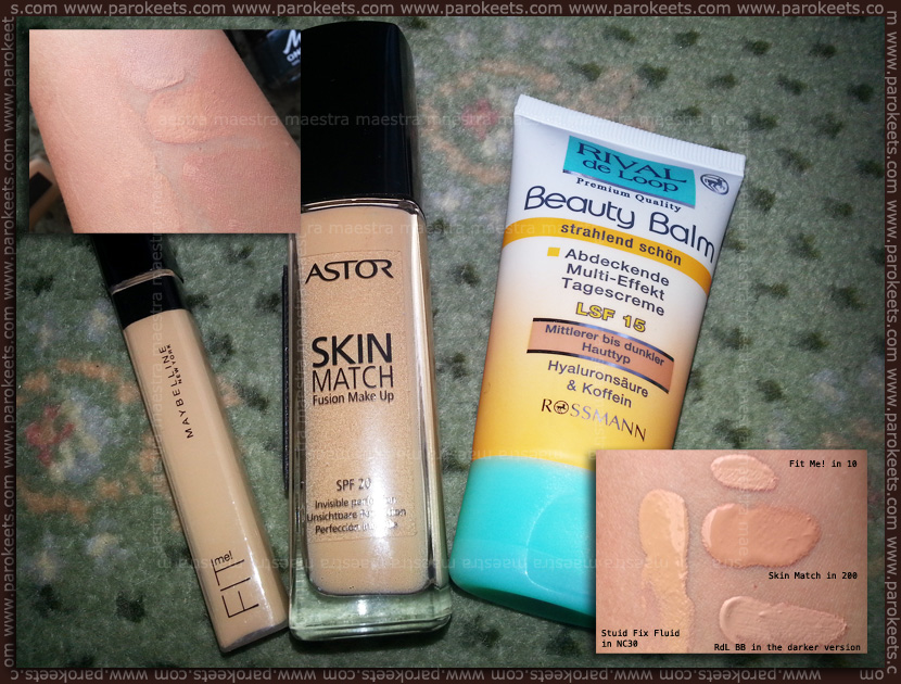 Swatch: Maybelline - Fit me! concealer in 10, Rival de Loop - Beauty Balm, Astor - Skin Match Fusion Make Up foundation in 200 Nude