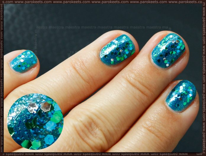 Mermaid nails with Milani - Teal glitter