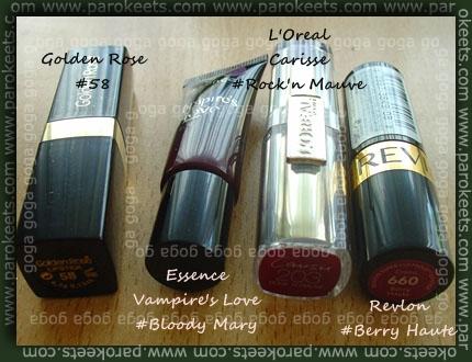 Golden Rose, Essence, L'Oreal, Revlon