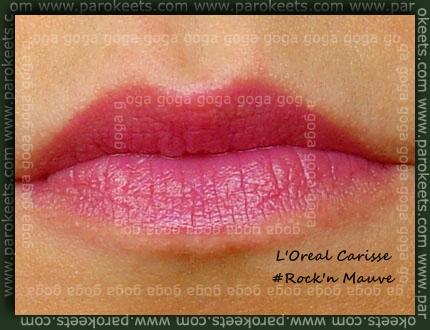 L'Oreal Carisse - Rock n Mauve, lip swatch