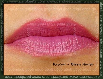 Revlon lipstick Berry Haute, lip swatch