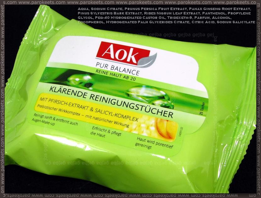 AOK Pur Balance Klärende Reinigungstücher INCI