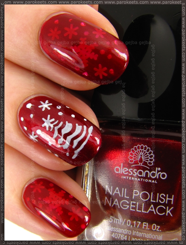 Alessandro Flaming Spirit + A02, C03 fauxnad stamping winter manicure