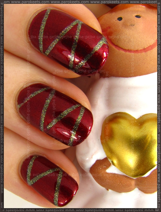 Alessandro Red Treasure + Sacred Silver tape manicure
