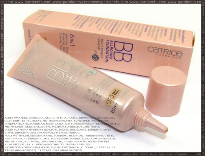 Catrice BB Allround Foundation - Light Beige (no. 010) with ingredients