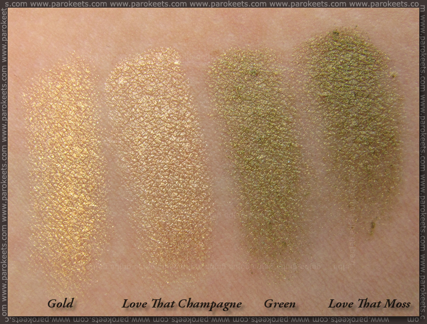Gosh Waterproof Eye shadow comparison: Gold vs. Love That Champagne; Green vs. Love That Moss
