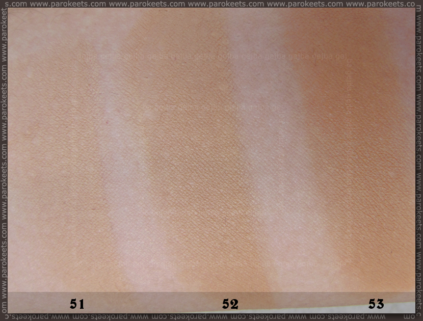 Bourjois Healty Mix 2013 liquid foundation: 51, 52, 53 swatch comparison (shade)