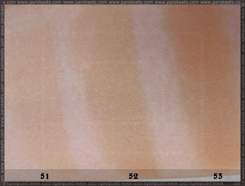 Bourjois Healthy Mix - novi tekoči puder 2013: 51, 52, 53 primerjava swatchew