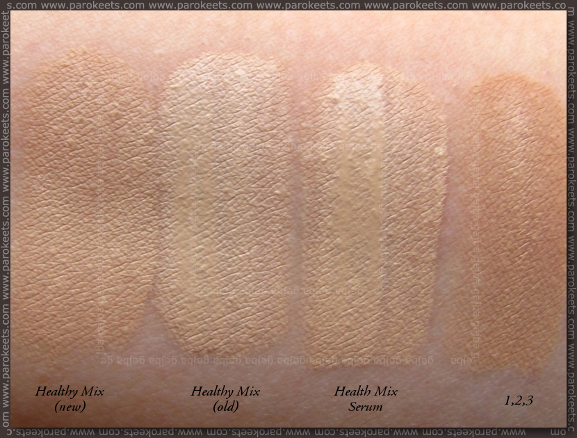 Bourjois Healty Mix: old, new, Serum, 1,2,3 comparison of shade 51 Light Vanilla