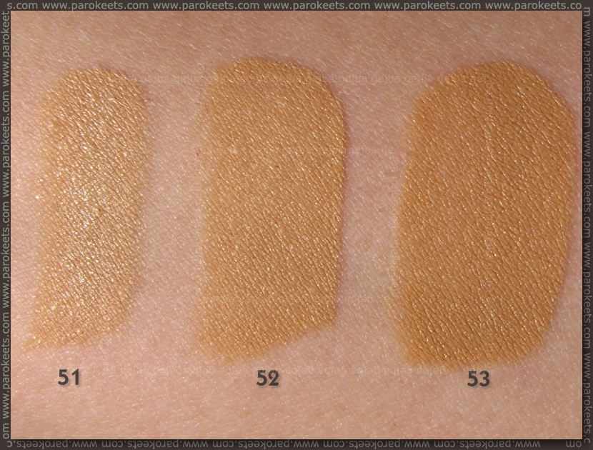 Bourjois Healty Mix 2013 liquid foundation: 51, 52, 53 swatch