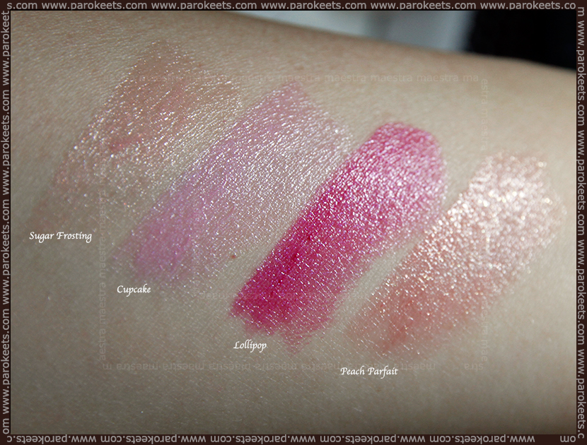 Swatch: Revlon Colorburst Lip Butter: Sugar Frosting, Cupcake, Lollipop, Peach Parfait