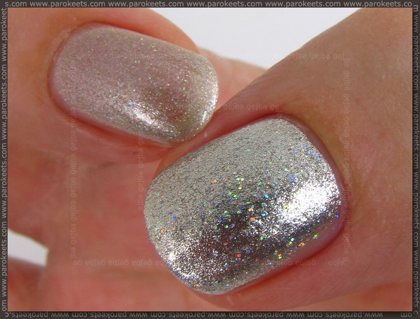 Essence Super Man vs Maybelline 49 holo nail polish