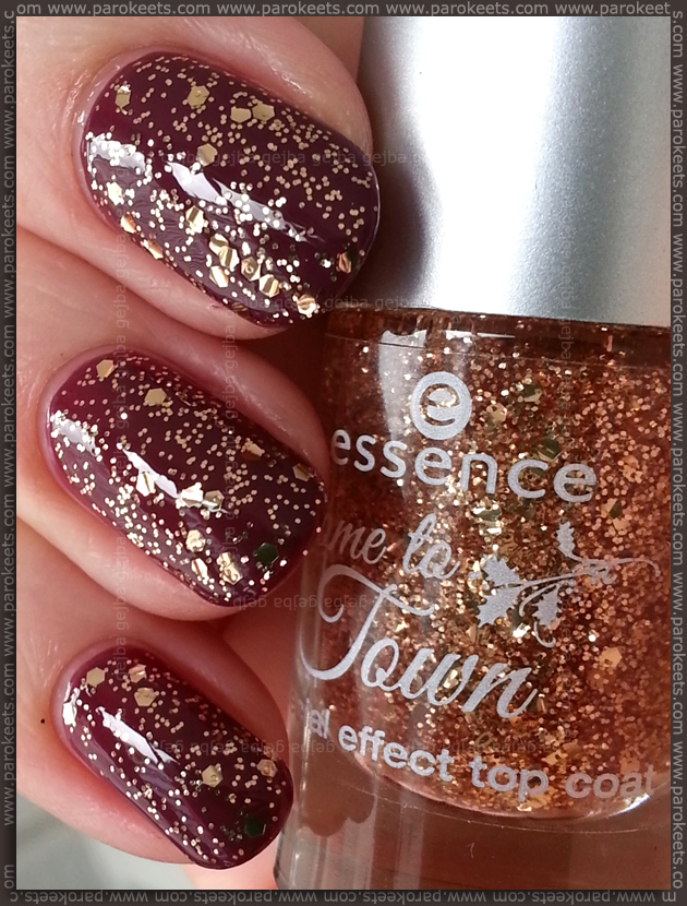 Essence Naughty or nice (Come to town LE) burgundy, gold top coat 630