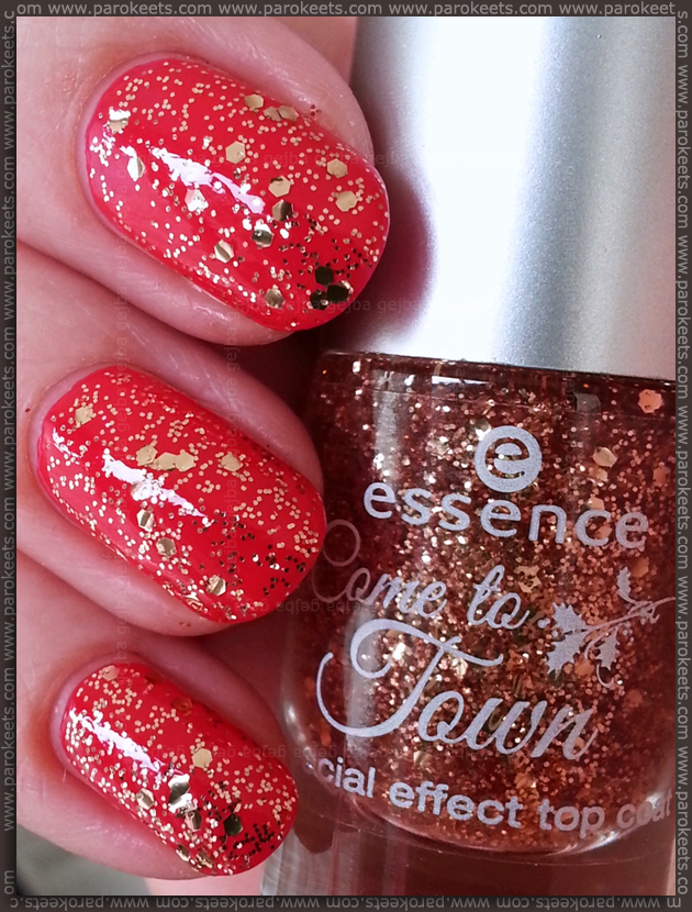 Essence Naughty or nice (Come to town LE) pinkish red, gold top coat