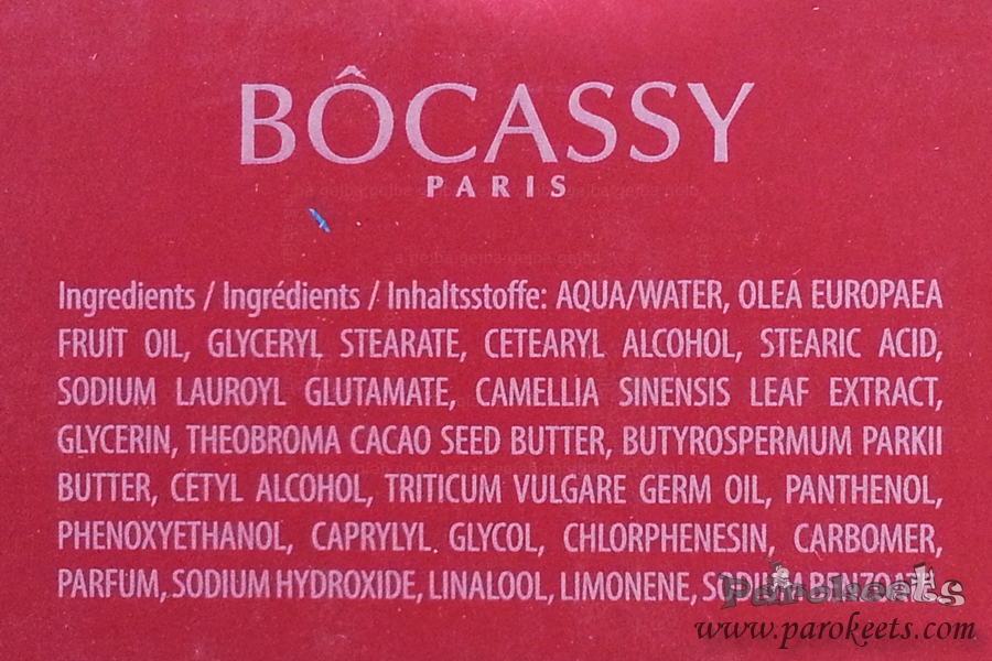 Bocassy Light Day Cream INCI sestavine