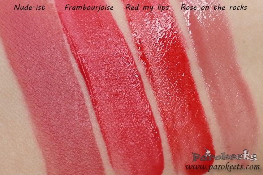 Bourjois Velvet vs Aqua Laque lipsticks
