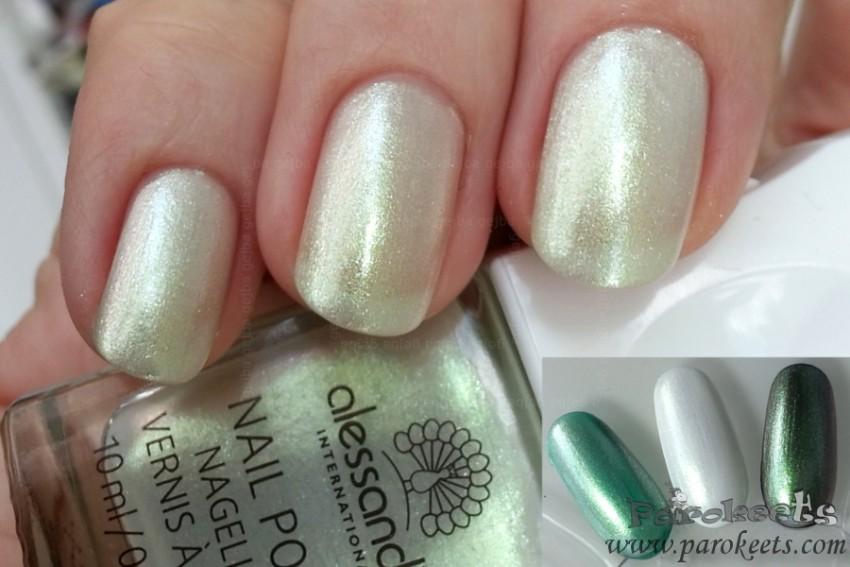 Alessandro Parisian Chic (White Night LE) nail polish (over black, white, green)