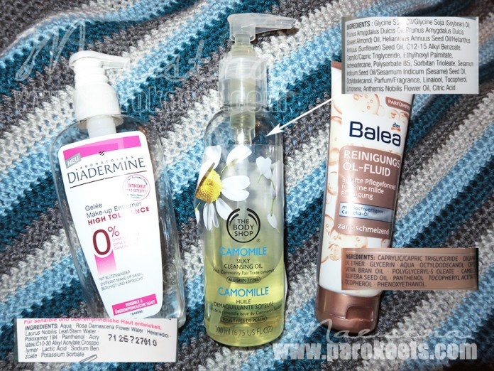 Make up removers: Balea, The Body Shop, Diadermine