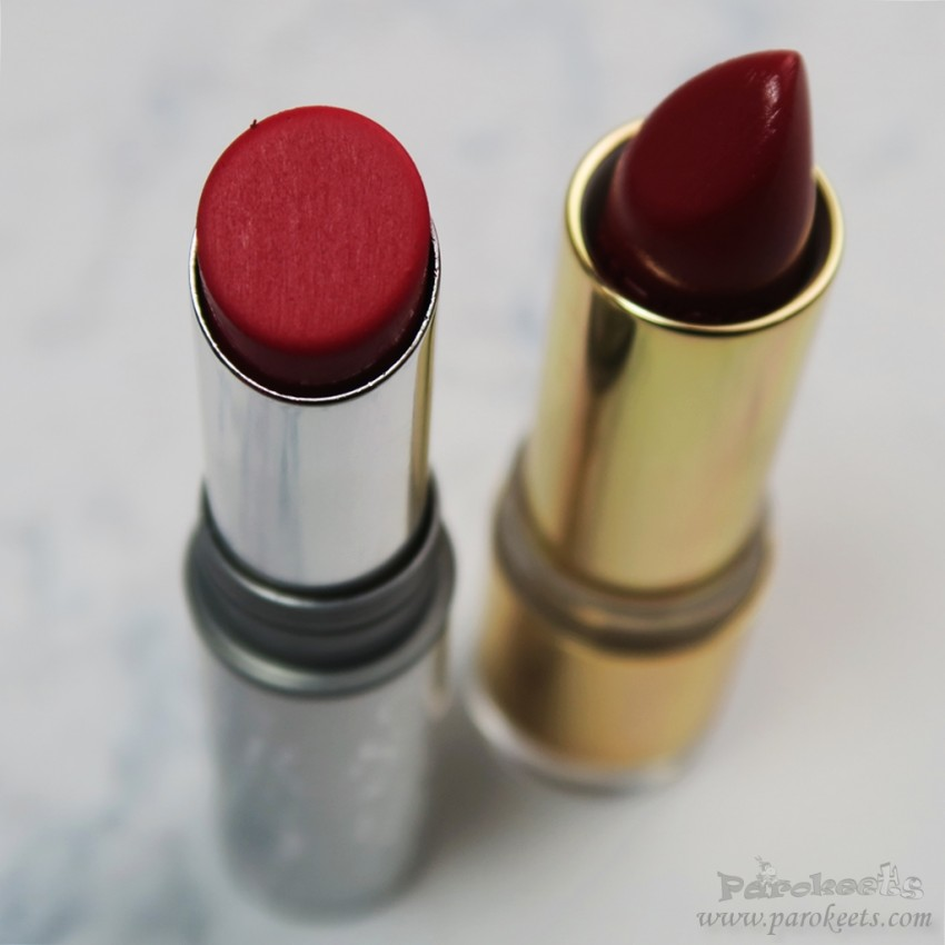Catrice M-attempt to Conquest vs. Treasured Twinkles red lipstick
