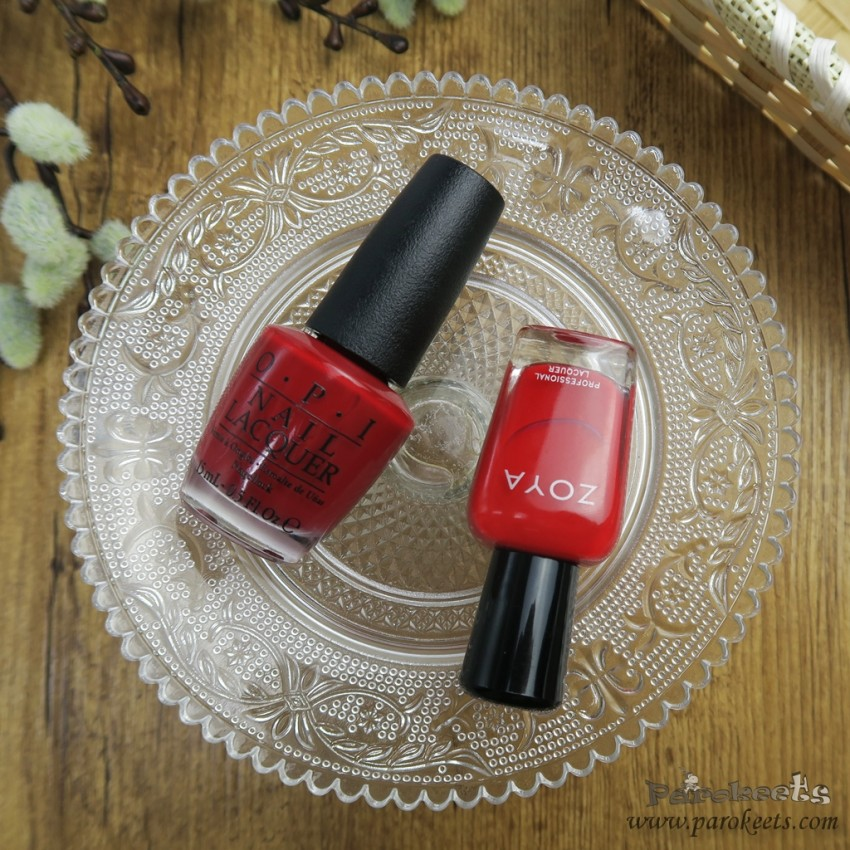 OPI Amore at Grand Canal (Venice,red) vs. Zoya Hannah (fall 2015)