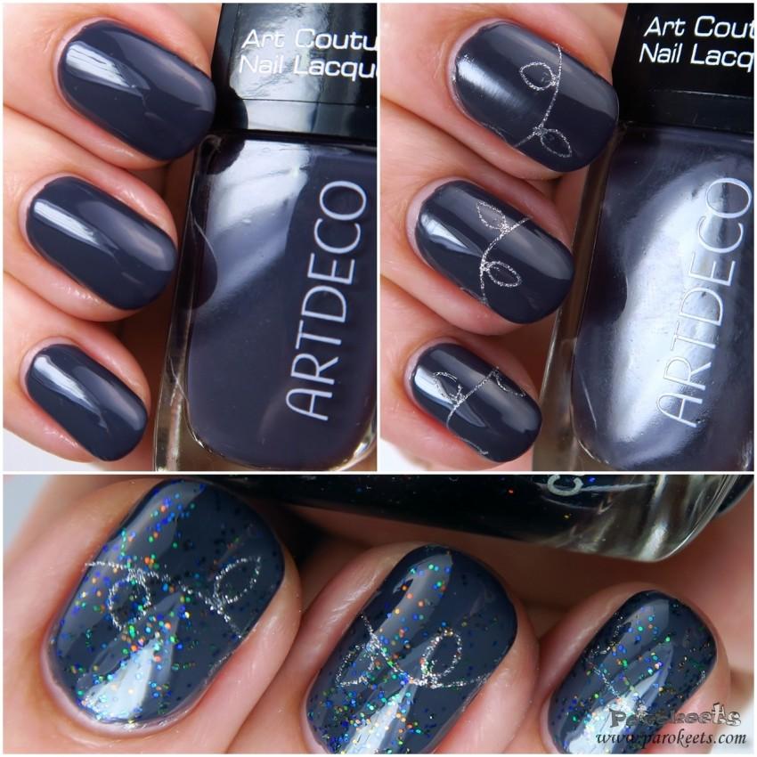 ArtDeco 794 nail polish + Bunny Nails HD-F plate + Jessica Platinum Wishes layering