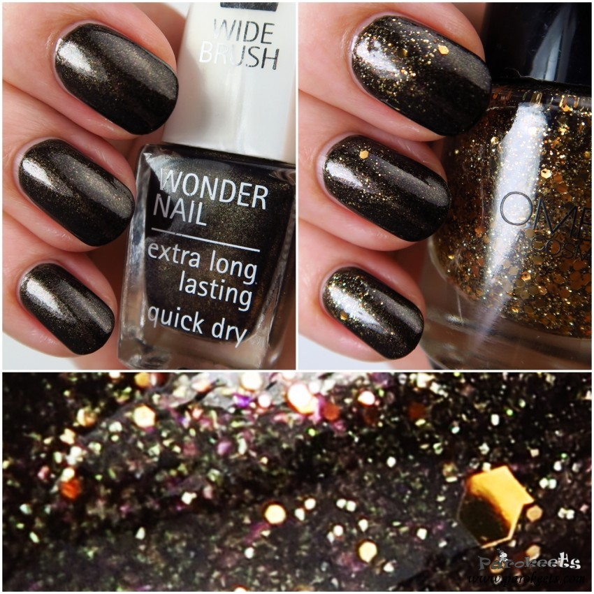 IsaDora Bronze Patina 718 + Ombia Golden Glam topper layering