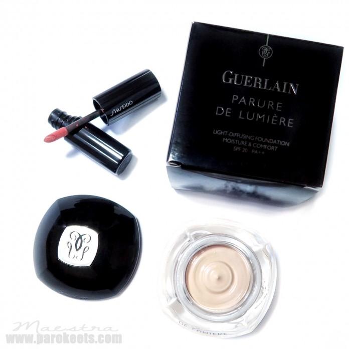 Guerlain Parure De Lumiere foundation, Shiseido liquid lipstick