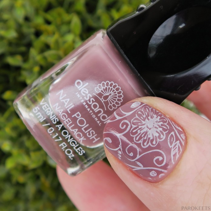 Peaceful taupe manicure with white flower stamping (Alessandro Rocket Man)