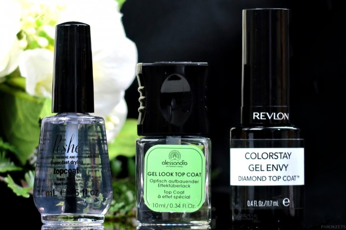 Best 3 top coats - Revlon, Alessandro, Poshe