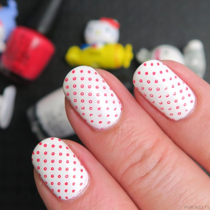White manicure with pink dots (OPI Hello Kitty 2016)