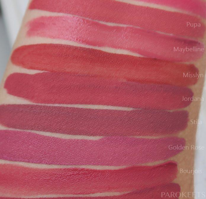 Primerjava mat tekočih šmink: Pupa 012, Maybelline 05 Nude Flush, Misslyn 136, Jordana Rose Macaron, Stila Patina, Golden Rose 03, Bourjois Nude-ist