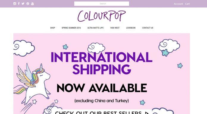 Colourpop International shipping