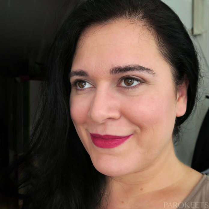L.O.V Lip Affair lipstick Olyme's Burgundy Matte (lip swatch)