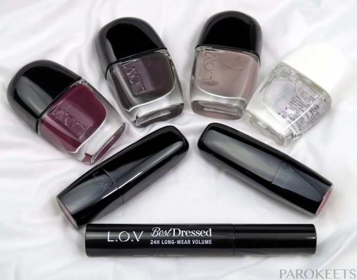 L.O.V haul - LOVinity nail polishes, Radiant top coat, Best Dressed mascara, Lip Affair lipsticks