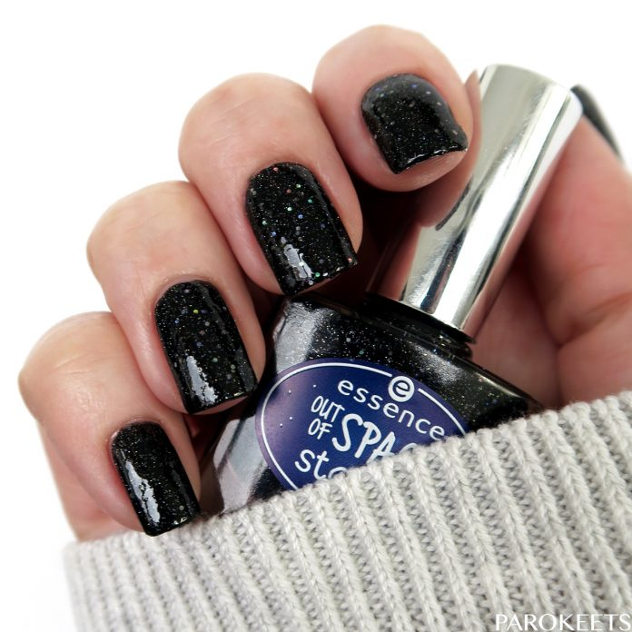 Essence Light Years Away (Out Of Space) black holo nail polish by Gejba Parokeets