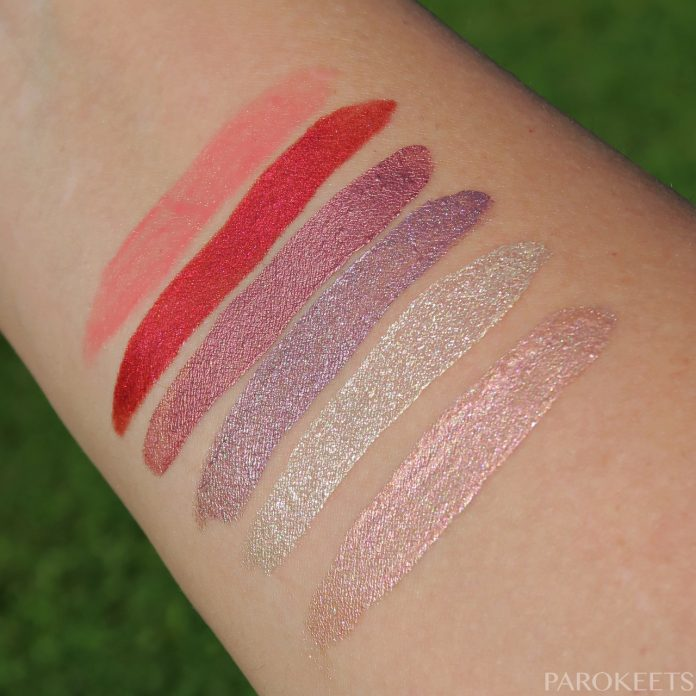 Golden Rose Lip-Blush 03, Metallic Shine Lipgloss 04, Matte metallic Lipgloss 52, Metallic Liquid Eyeshadow 110, 111, Liquid Glow HL 02 (Metals)